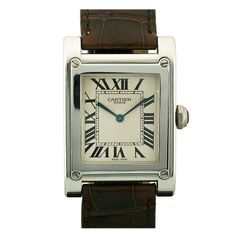 Cartier Platinum Tank à Vis Wristwatch from the Collection Privée   From a unique collection of vintage wrist watches at http://www.1stdibs.com/jewelry/watches/wrist-watches/