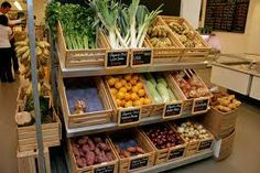 small blackboards? titled box display organic veg display - Google Search