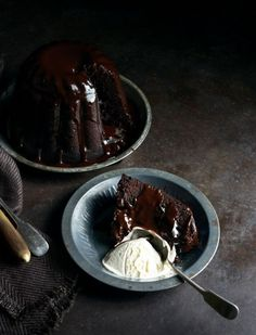 dark & decadent chocolate steamed pudding w/ Luscious chocolate sauce