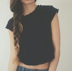 Love the crop top and plait simple
