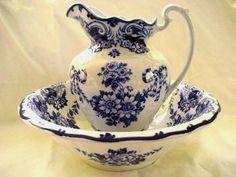 English Flow Blue Large Pitcher Bowl Set Antique England