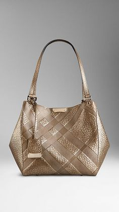Gold The Small Canter in Embossed Check Leather - Image 1