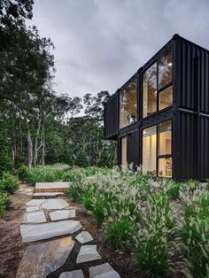 MB Architecture stacks shipping containers to form Amagansett holiday home Shipping Container Homes, Shipping Containers, Geometric Pool, Wood Steps, Wood Staircase, New York Studio, Container Architecture, Modern Architects, Affordable Housing
