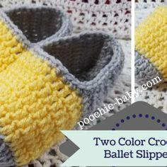 Free Crochet Pattern: Two Color Crochet Ballet Slippers (Poochie Baby) Crochet Slipper Boots, Crochet Slipper Pattern, Crochet Baby Boots, Crochet Slippers, Crochet Hats, Booties Crochet, Knit Crochet, Easy Crochet Patterns, Knitting Patterns Free