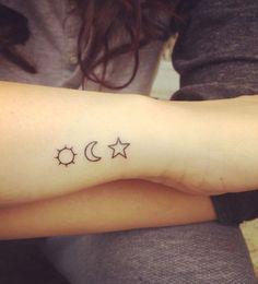 Cute tattoo star, moon and sun