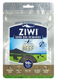 Ziwi Peak Training Rewards Beef Dog (3 oz.)  100% single-sourced Beef from ethical and sustainable New Zealand farms with proteins that are free-range and grass-fed.  Our beef formula is 98% meat. It is also free of antibiotics, growth promotants and added hormones.  Perfect sized treats for training and a delicious reward.  NO grains, corn, soy, potatoes, wheat, rice, fillers, sugars, glycerins, rendered meals or preservatives. Instead our recipes have everything your dogs need to thr...