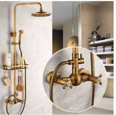 ducha antigua + monocomando bacha + espejo + set bidet