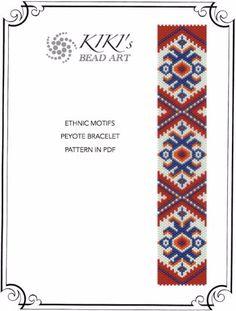 Pattern, peyote bracelet - Ethnic motifs peyote bracelet cuff PDF pattern instant download