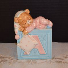 Baby Bear ABCD Lefton Planter Vintage 1984 by ShellysSelectSalvage