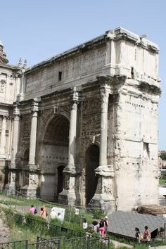 The triumphal arch of Septimius Severus in the Forum Romanum of Rome, erected in 203 CE to commemorate victory over the Parthians.