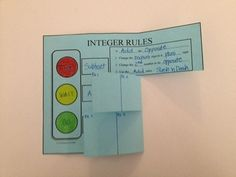 A graphic organizer foldable for the Integer Operations Rules. Great for interactive notebooks!  3 Assignments included.  $