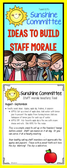 Staff morale boosters for August and September.  Can be organized by Sunshine Committee or principal.  Fun ideas for faculty meetings.
