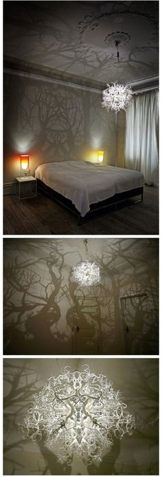 How to make forest inspired DIY tree branch shadow chandelier . Incredible chandelier casting a forest of shadows. With my love of shadow art I don't just want I NEED this in my life! Diy Tree, Crafts To Make, Fun Crafts, Diy Luz, Diy Para A Casa, Diy Lampe, Ideias Diy, Diy Chandelier, How To Make Chandelier