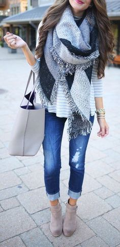 #street #style fall outfit / gray & black blanket scarf + denim + light beige suede booties: