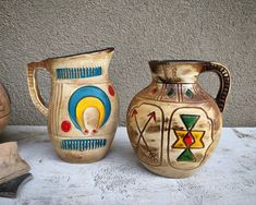 Two Vintage Tourist Pottery Pitcher Vases Colorful Painted Aztec Style Designs, Mexican Souvenir
