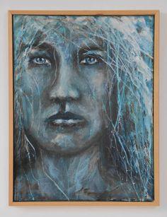 Hedendaags schilderij acryl op doek met houten lijst