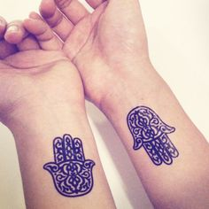 2pcs Hamsa Hand Pattern Tattoo - InknArt Temporary Tattoo Set - pack tattoo quote wrist ankle body sticker anchor fake tattoo Copy on Etsy, $4.99