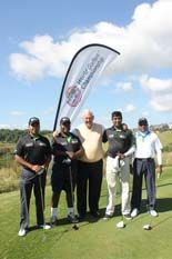 Golfers Theo Moodley, Ronald Langa, Devan Govender and Morgan Subramany with PGA Master Professional Dale Hayes and Master of Ceremonies for the regionals, SA Finals and World Golfers Championship at Cotswold Downs