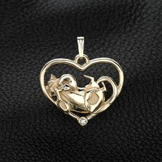 """14K Gold and Diamond Cat Pendant w/18"""" Gold Chain by Donna Pizarro fr her Animal Whimsey Collection of Fine Cat Jewelry by DonnaPizarroDesigns on Etsy"""