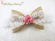 Items similar to Burlap and Lace Hair Bow, Beige White & Pink Bow w/ Millinery Flowers Stretchy Lace Headband or Hair Clip, Baby Toddler Child Girls Headband on Etsy Burlap Hair Bows, Diy Hair Bows, Diy Bow, Lace Bows, Stretchy Headbands, Lace Headbands, Barrettes, Hairbows, Burlap Crafts
