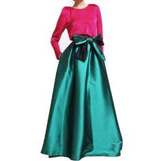 ヴィンテージエメラルドサテンパフィー床の長さのスカート2017でポケットロングダークグリーンマキシスカートのカスタムメイド大きな弓サッシ