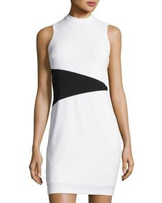Sleeveless Mock-Neck Colorblock Dress, White/Black
