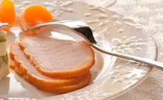 Epicure's Hot Buttered Rum-glazed Canadian Back Bacon Hot Buttered Rum, Glaze, Bacon, Brunch, Food And Drink, Breakfast, Christmas, Recipes, Enamel