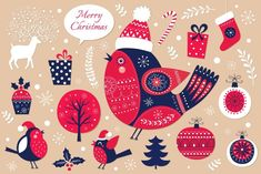 Ad: Christmas vector collection by MoleskoStudio on Beautiful Christmas collection of decorative traditional elements and symbols of Christmas. Ideal for print and decoration your holiday Noel Christmas, Christmas Design, Christmas Photos, Christmas Cards, Christmas Ideas, Vector Christmas, Christmas Illustration, Illustration Art, Carnival Holiday
