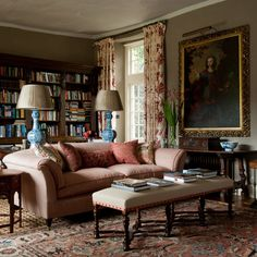 traditional English living room, mix antiques from different eras, comfortable, Guy Goodfellow design
