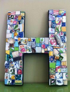 LETTER H Pique Assiette Mosaic monogram Any Letter by BrokenArtz, $70.00