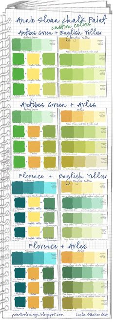 COLORWAYS  Annie Sloan Chalk Paint Swatch Book      Custom green colors mixed from Antibes Green or Florence with English Yellow or Arles.  Tints were made with Pure White