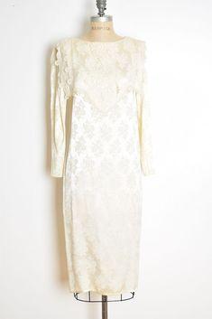 489600d11b4 vintage 90s dress cream brocade satin crochet lace sailor collar midi M   fashion  clothing