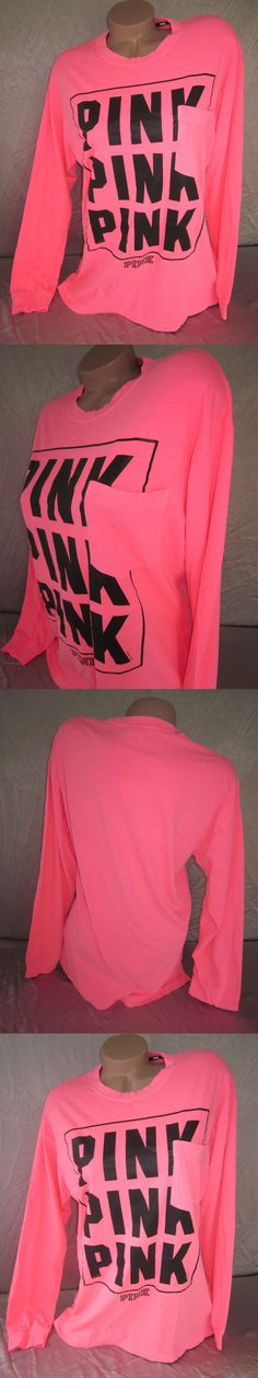 T-Shirts 63869: Victoria S Secret Pink T Shirt Top Campus Tee Pocket Neon Coral Nwt -> BUY IT NOW ONLY: $37.97 on eBay!