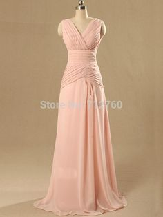 Cheap Long Pink Chiffon Bridesmaid Dresses Prom Dress under 100 $89