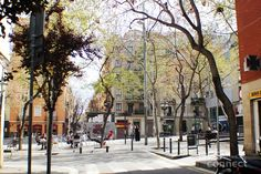 Plaça Sortidor in Poble Sec in Barcelona, Cataluña. A great place to watch the life of a neighborhood while having a cold drink. Nice bars and restaurants all over the place.