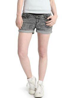 Acid Wash Maternity Denim Shorts