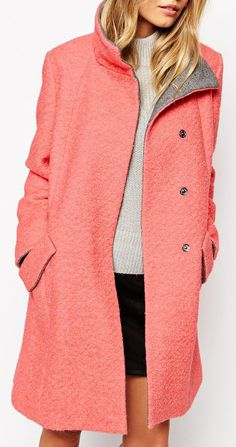 ASOS Swing Coat With Funnel Neck In Textured Wool - Pink