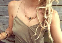 BOHO chic macrame necklace with dark jade gemstone. BOHEMIAN