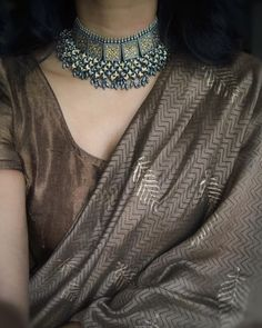 Brown and gold coming together to make me feel a tad bit mysterious 🍂 . Source by kumaribytara Saree Draping Styles, Saree Styles, Indian Attire, Indian Outfits, Saree Jewellery, Lehnga Dress, Silk Saree Blouse Designs, Stylish Blouse Design, Trendy Sarees