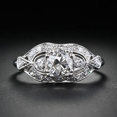 .75 Carat Art Deco Platinum Diamond Engagement Ring - 10-1-3863 - Lang Antiques