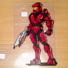 Master Chief Halo perler beads by pixelempire