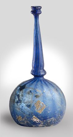This flask on view in Heaven and Earth: Art of Byanzium from Greek Collections would once have been used to sprinkle myrrh and holy water. Sprinkler Flask, late 1300s–early 1400s, made in Patras, Greece. Glass, 9 7/16 in. high. Image courtesy of the Patras Archaeological Museum -
