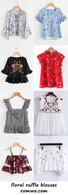 floral ruffle blouses - romwe.com