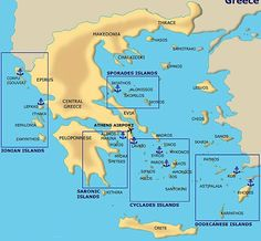 Don't you love maps? Here are the Greek islands. Pick three and GO! Want to cruise the islands? Come visit me at: intoxicatingtravel.com I promise, you'll never regret it!
