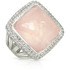 Sho London 18K Gold V-Seal Rose Quartz Victoria Ring ($4,450) ❤ liked on Polyvore