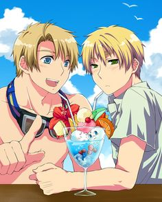 Hetalia - America / England- whoaaa look at America without Texas(or are the goggles Texas?) and England's eyes 0-0
