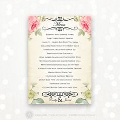 Printable Wedding Menu EDITABLE Vintage Floral   by AmeliyCom, $17.00