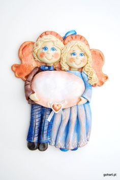 Anioły z dedykacją, zakochane anioły, anioł z masy solnej, para aniołków, anioły na ślub, prezent ślubny, anioły rocznica, salt dough angels