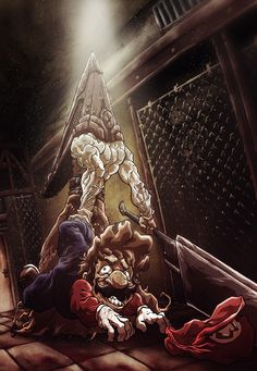 Mario vs Pyramid Head by Sebastian Von Buchwald Silent Hill Video Game, Silent Hill Art, Super Mario Kunst, Super Mario Bros, Arte Horror, Horror Art, Horror Movies, Berserk, Pyramid Head