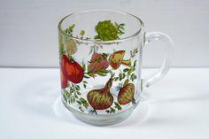 Vintage Arcoroc France Glass Vegetable Mushroom Coffee Cup Mug 1970's